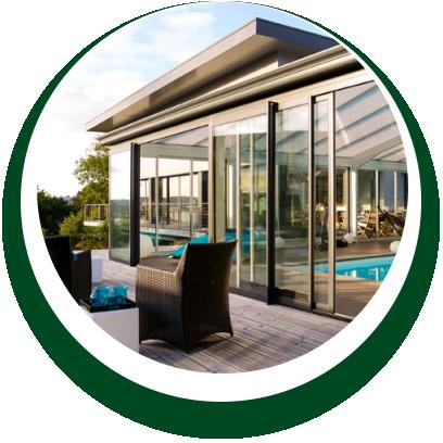 dettaglio veranda con porte scorrevoli Alpi Serramenti Torino