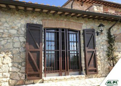Grata di Sicurezza colore brown per porta finestra doppia anta