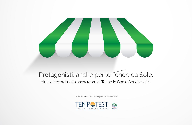 AL-PI Serramenti, tenda vettoriale bianca e verde, logo tempotest