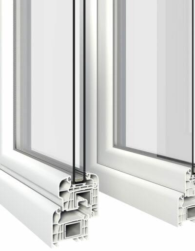 sezione serramento pvc camere d'aria isolamento termico