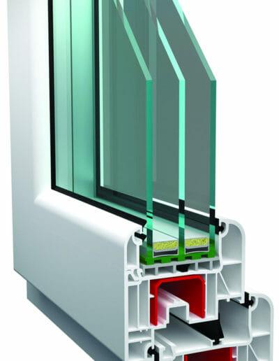 sezione serramento pvc camere d'aria triplo vertro